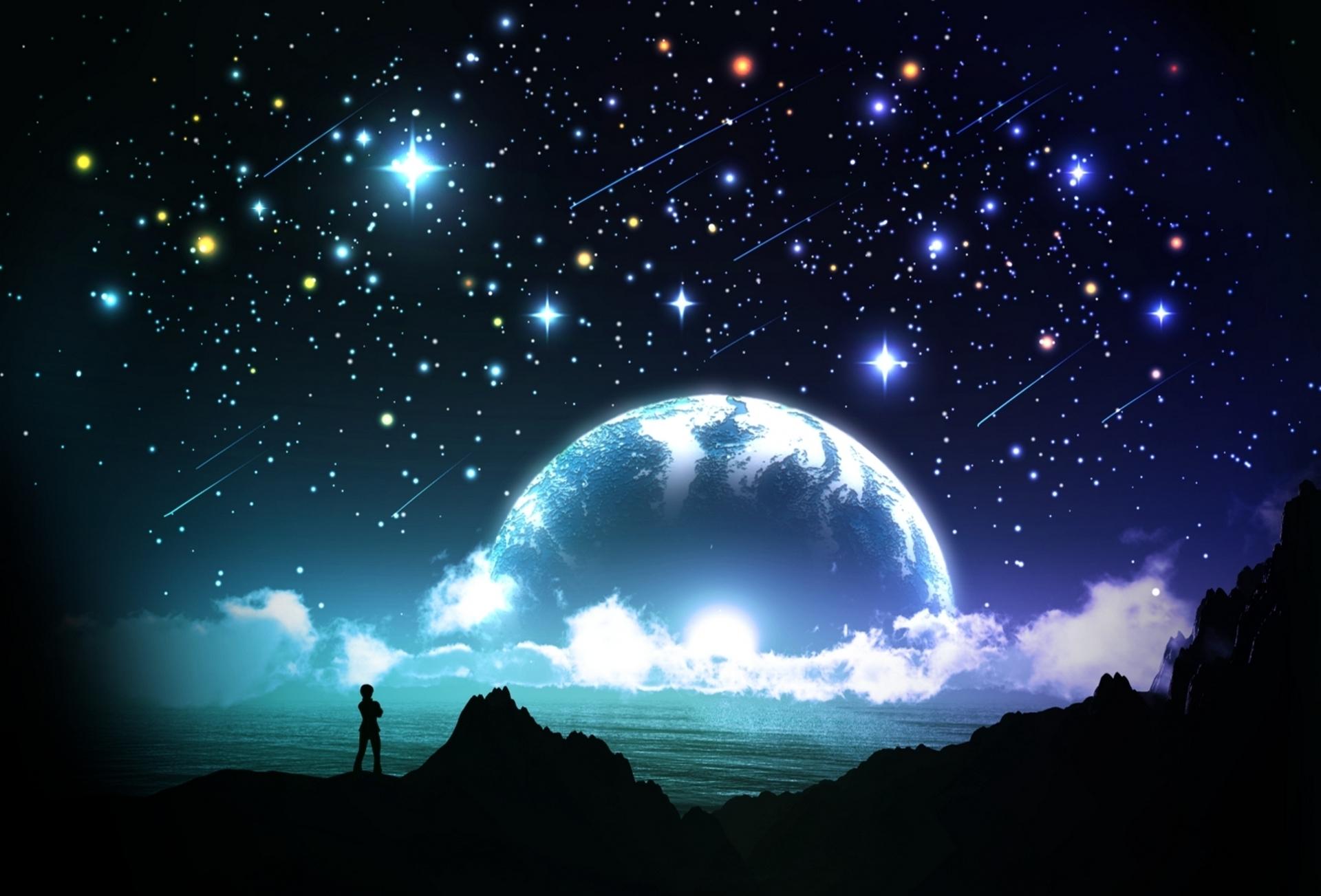 падающая звезда луна ночь небо бесплатно