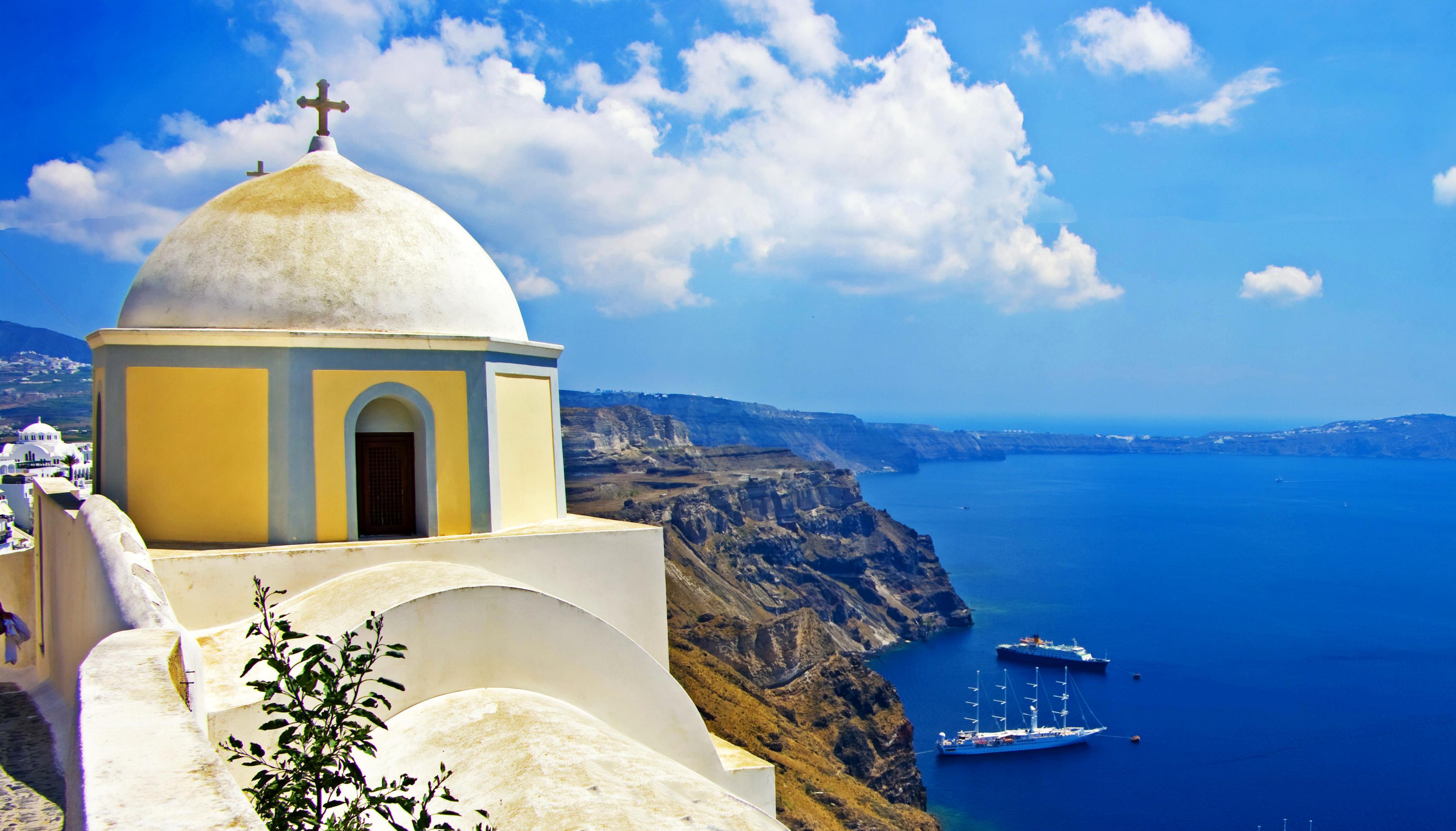 Обои греция, церковь, Облака, Облака, купол. Города foto 10