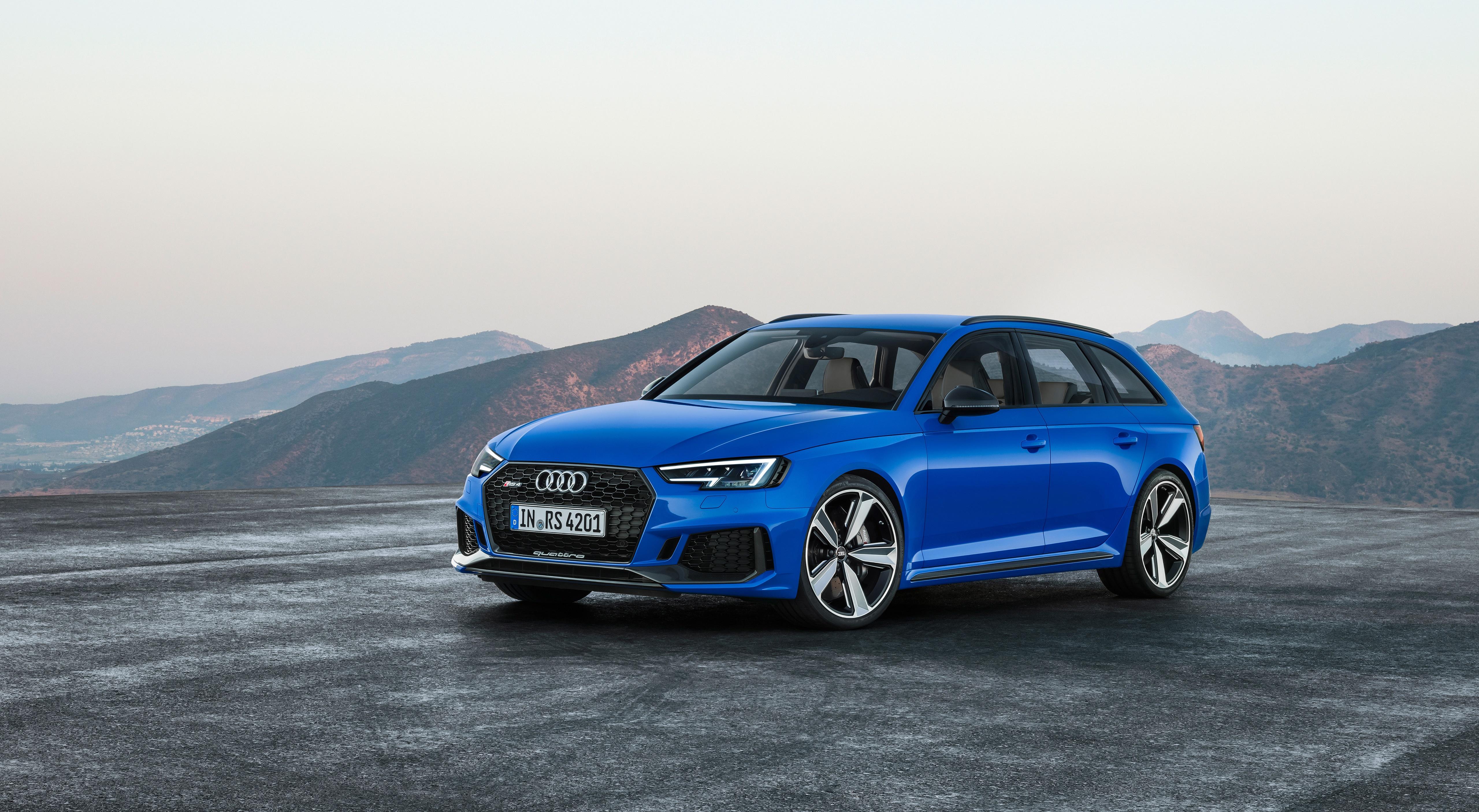 Обои для рабочего стола Ауди Универсал RS4, Avant, 2017 Синий авто Асфальт 5120x2812 Audi синяя синие синих машины машина асфальта Автомобили автомобиль