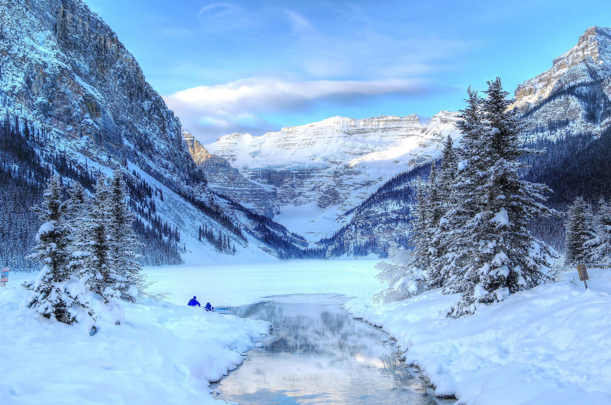 горы озеро снег зима скачать