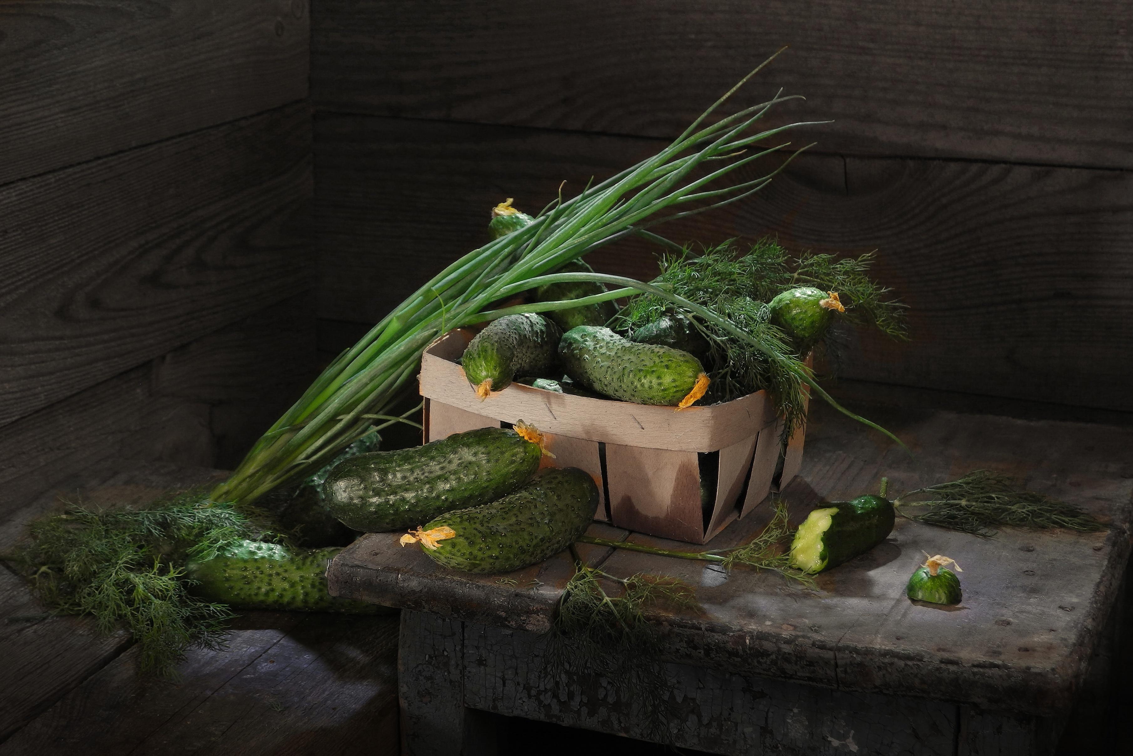 Обои для рабочего стола Зелёный лук Огурцы Укроп Пища Овощи Еда Продукты питания