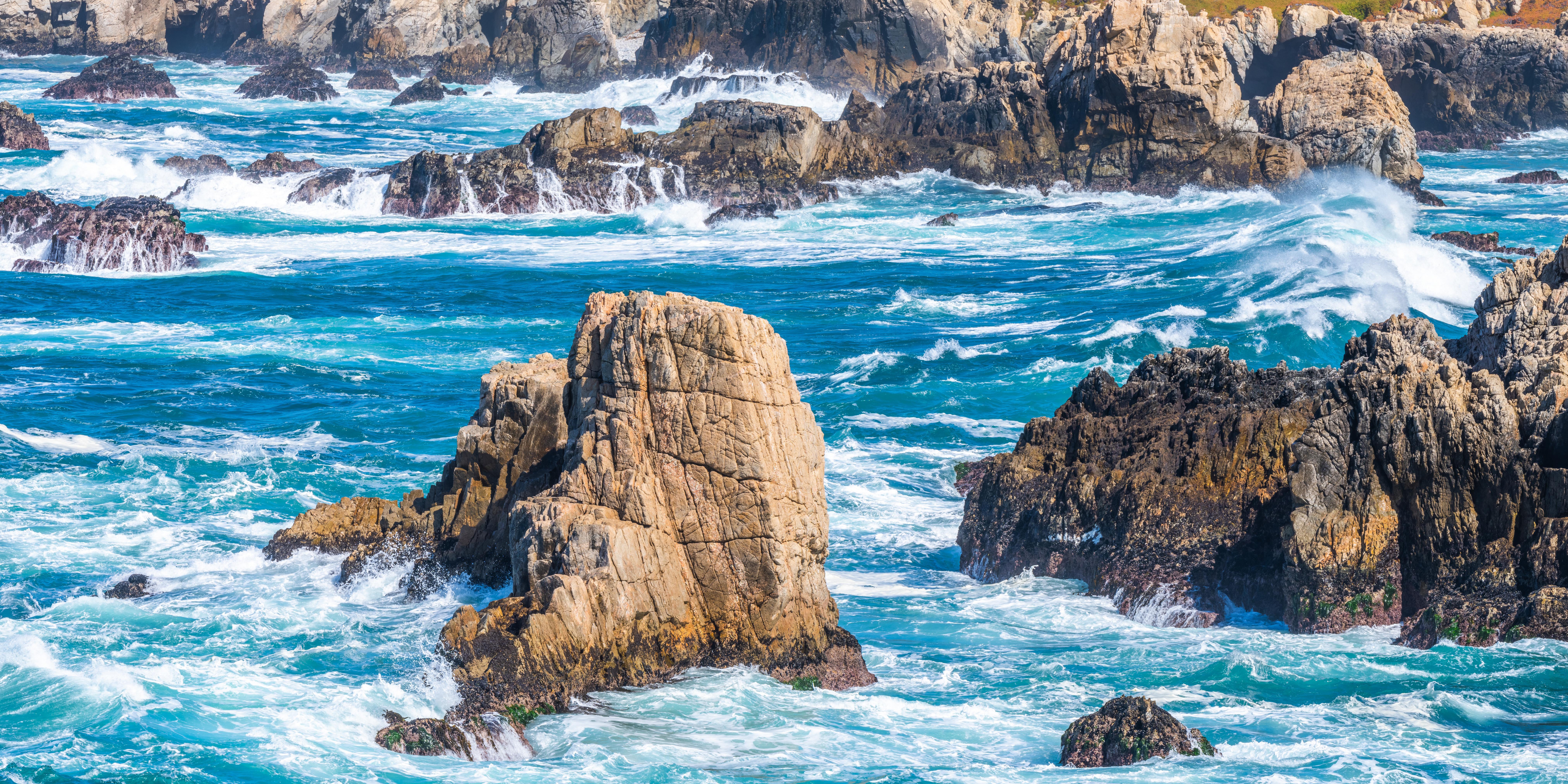 Фотография калифорнии США Big Sur Скала Природа Побережье 8100x4050 Калифорния штаты америка Утес скале скалы берег