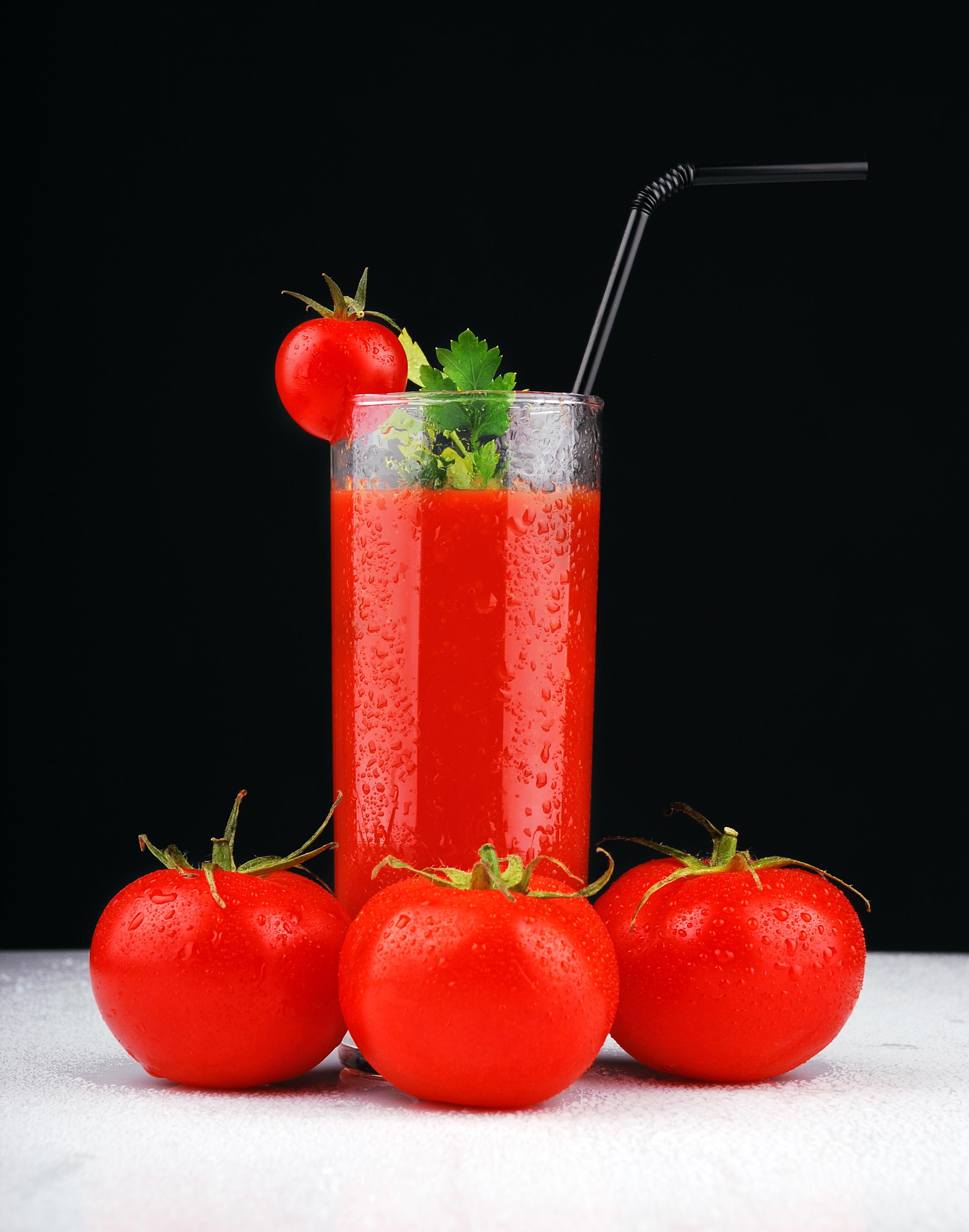 Фото Сок Томаты стакана Еда Помидоры Стакан стакане Пища Продукты питания