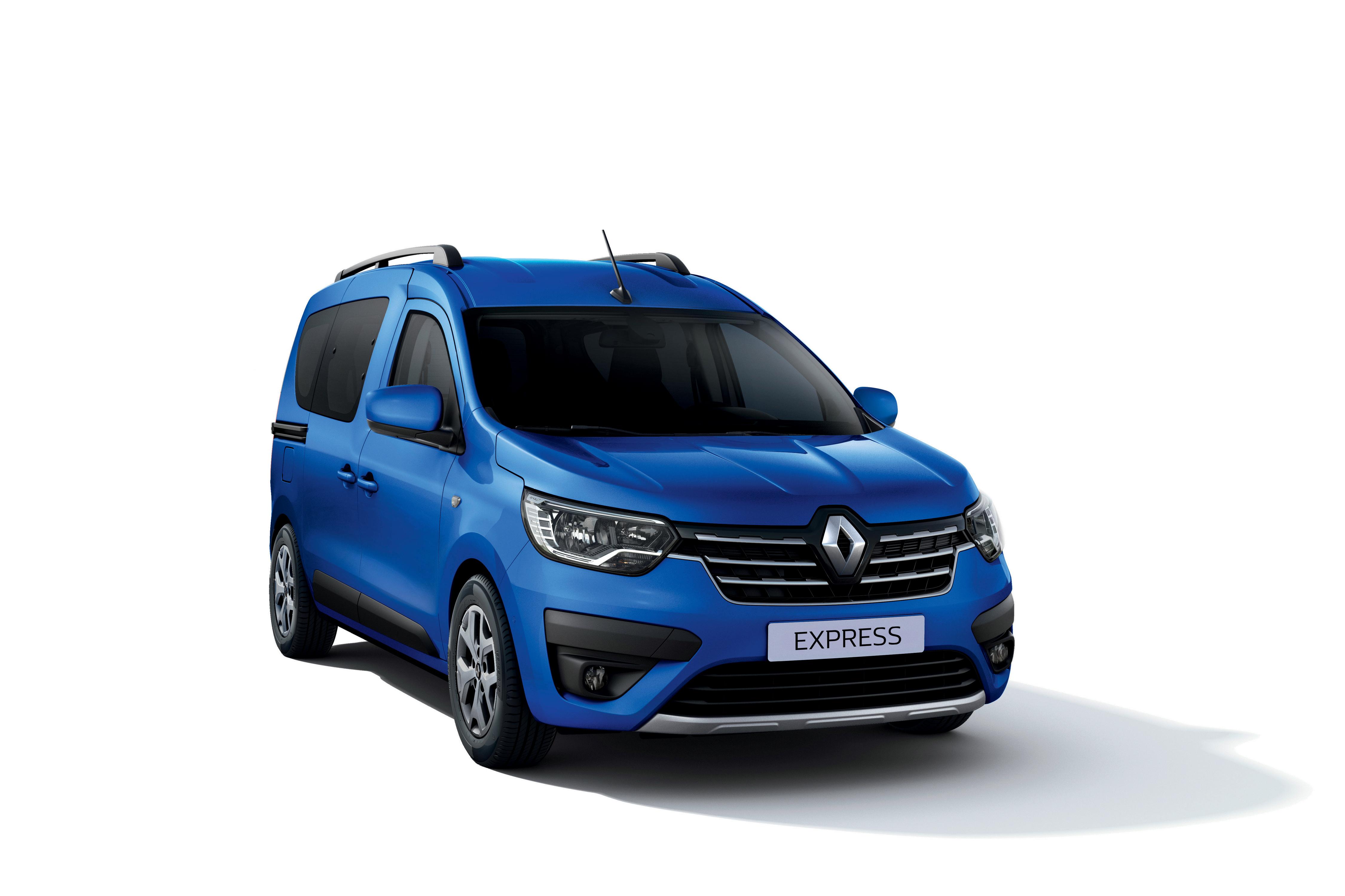 Фотографии Renault Express, 2021 Минивэн Синий машина Металлик белым фоном Рено синяя синие синих авто машины Автомобили автомобиль Белый фон белом фоне
