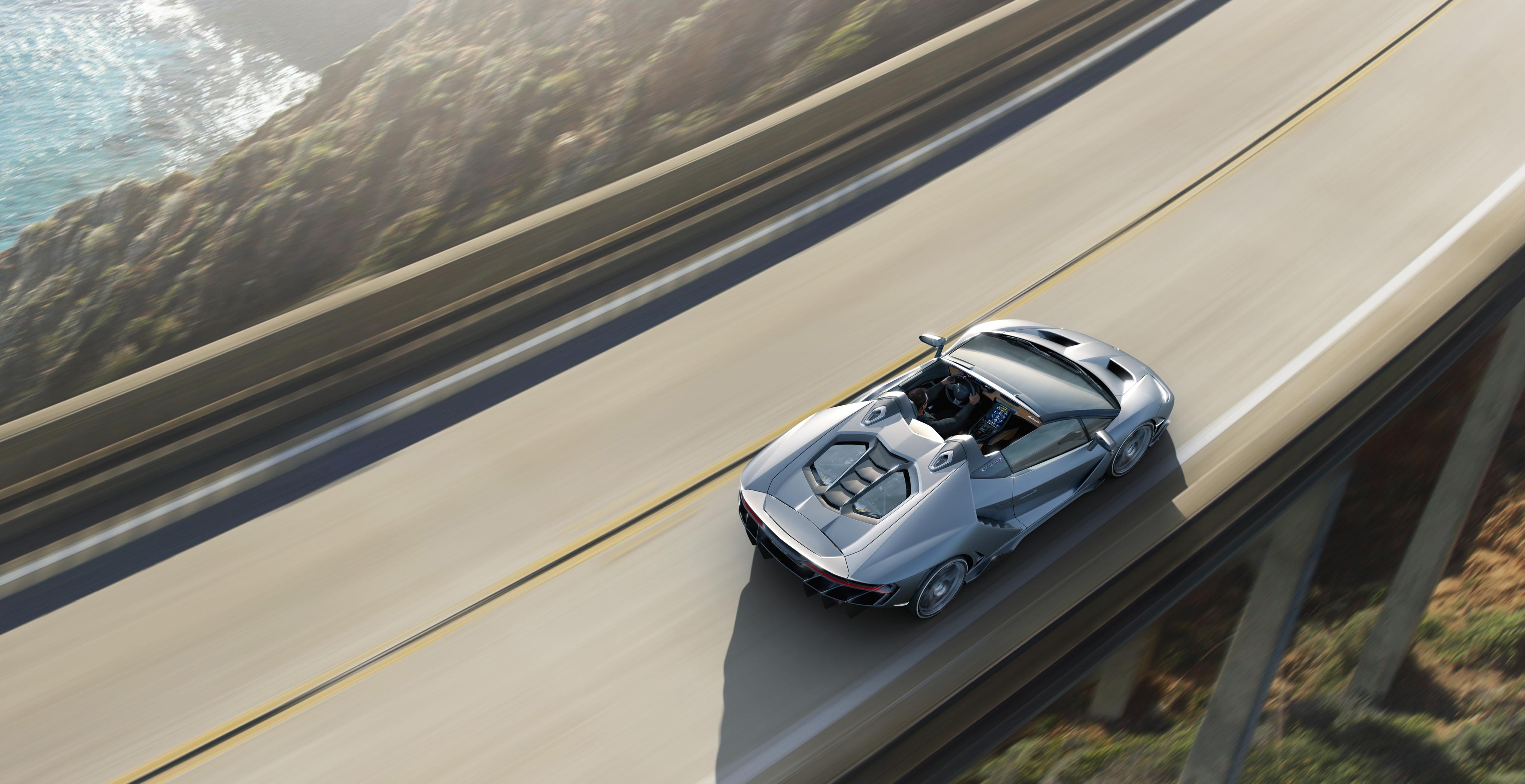 Фотография Ламборгини Centenario Roadster Родстер Движение Машины Сверху 4096x2107 Lamborghini едет едущий едущая скорость Авто Автомобили