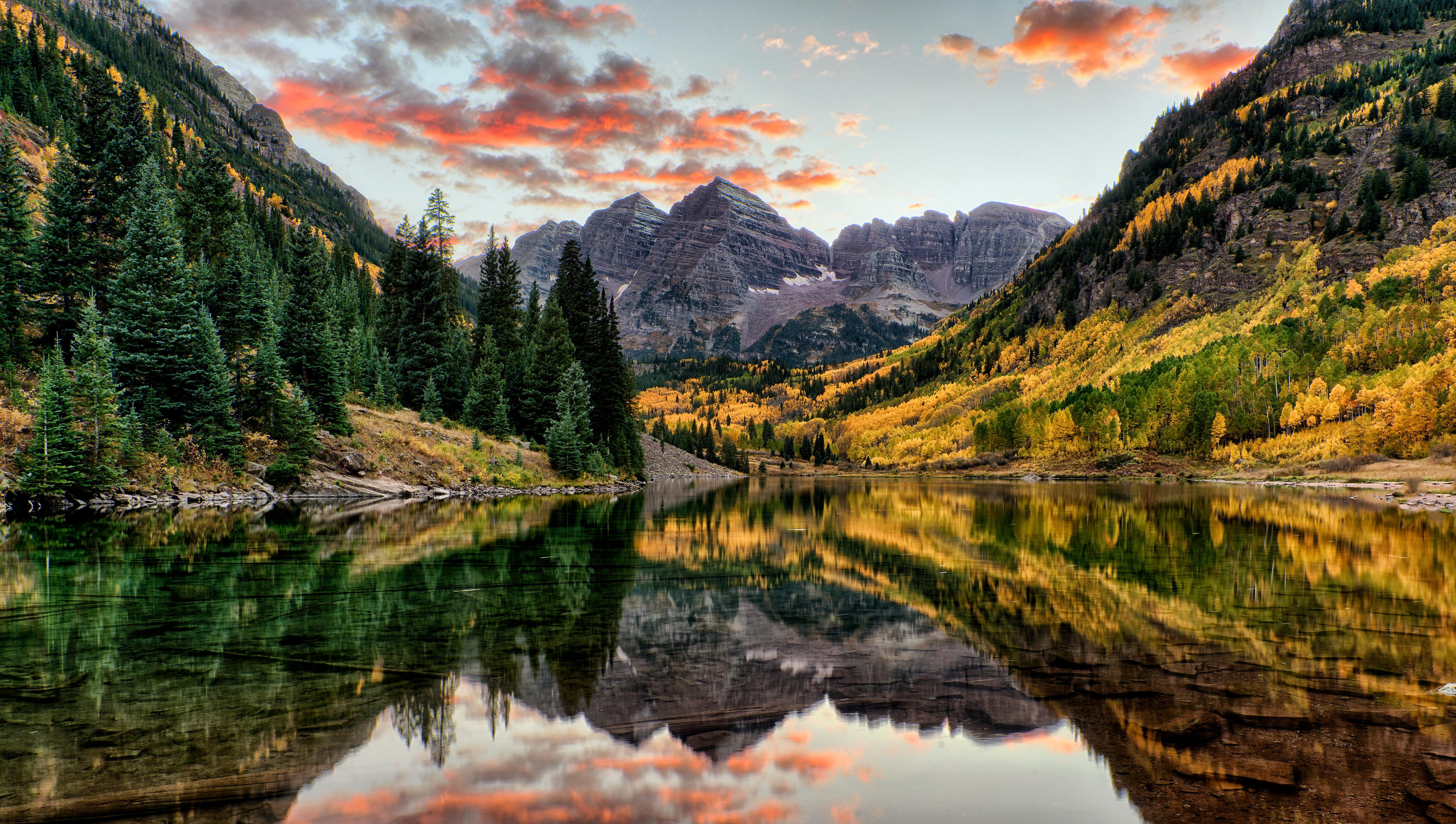 природа озеро деревья отражение горы без смс