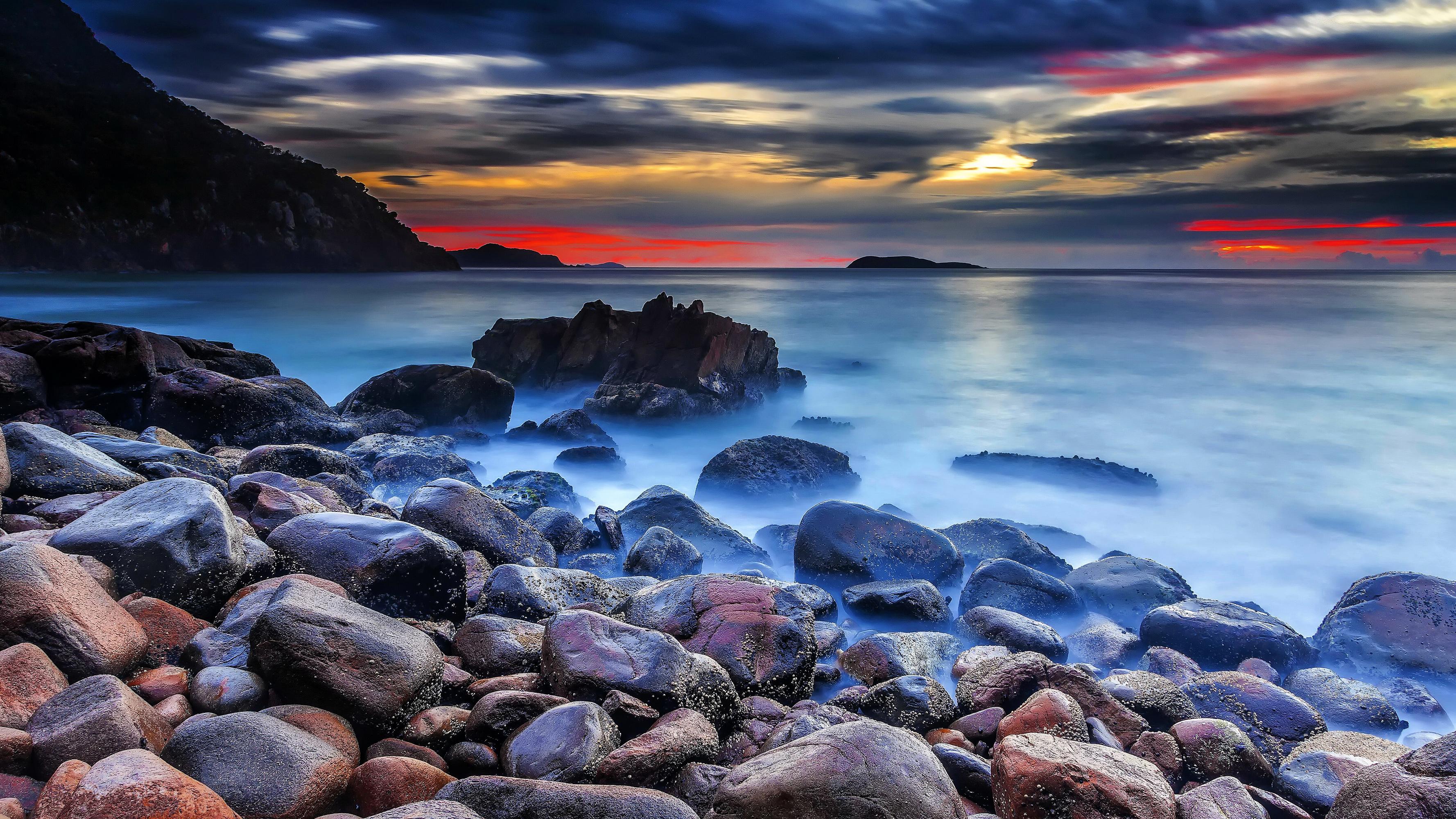 закат море берег камни без смс