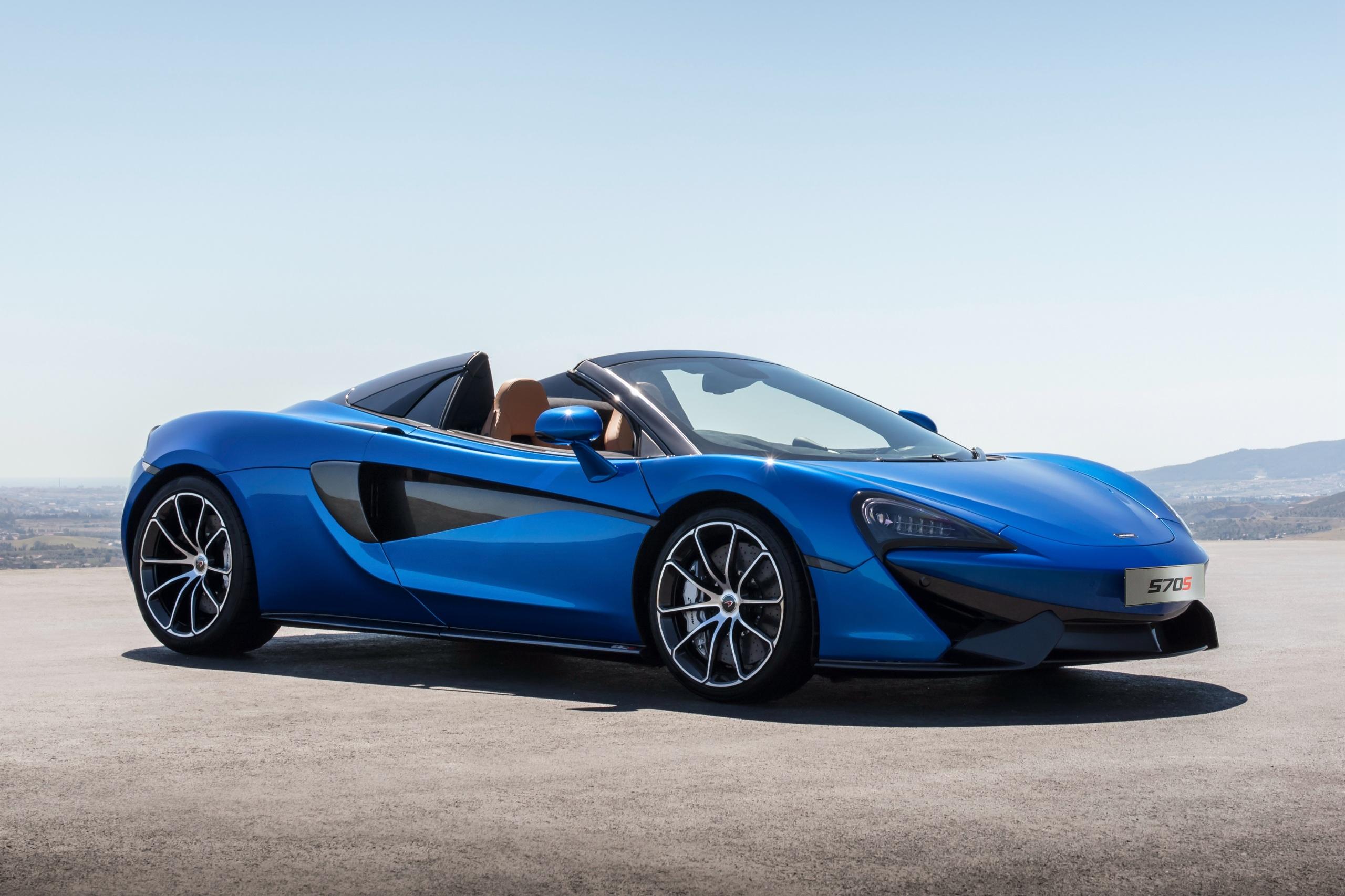 Картинки McLaren 2017 570S Spider Worldwide Родстер синие Автомобили 2560x1706 Макларен синих Синий синяя авто машина машины автомобиль