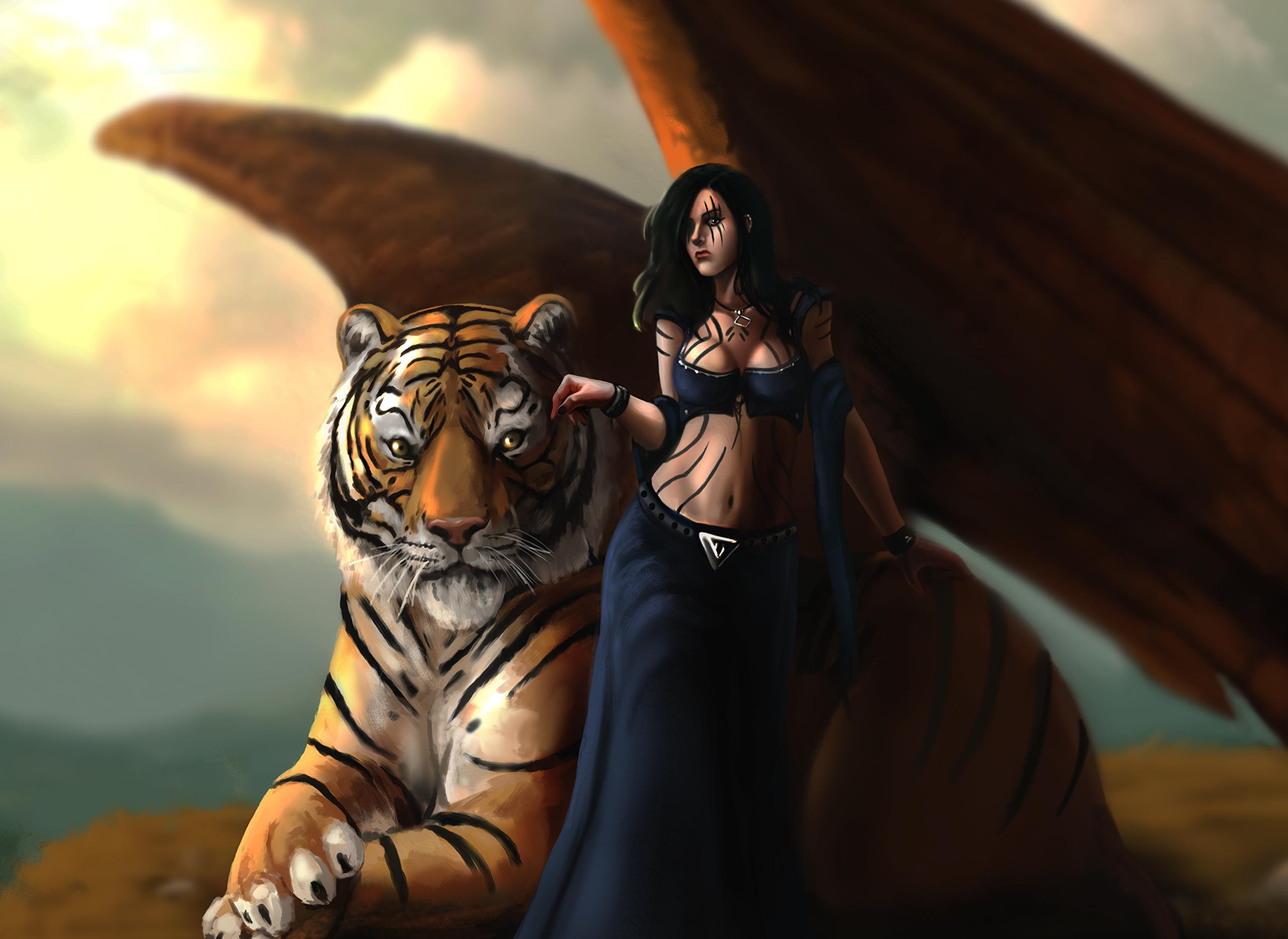 животные девушка тигр фэнтези без смс