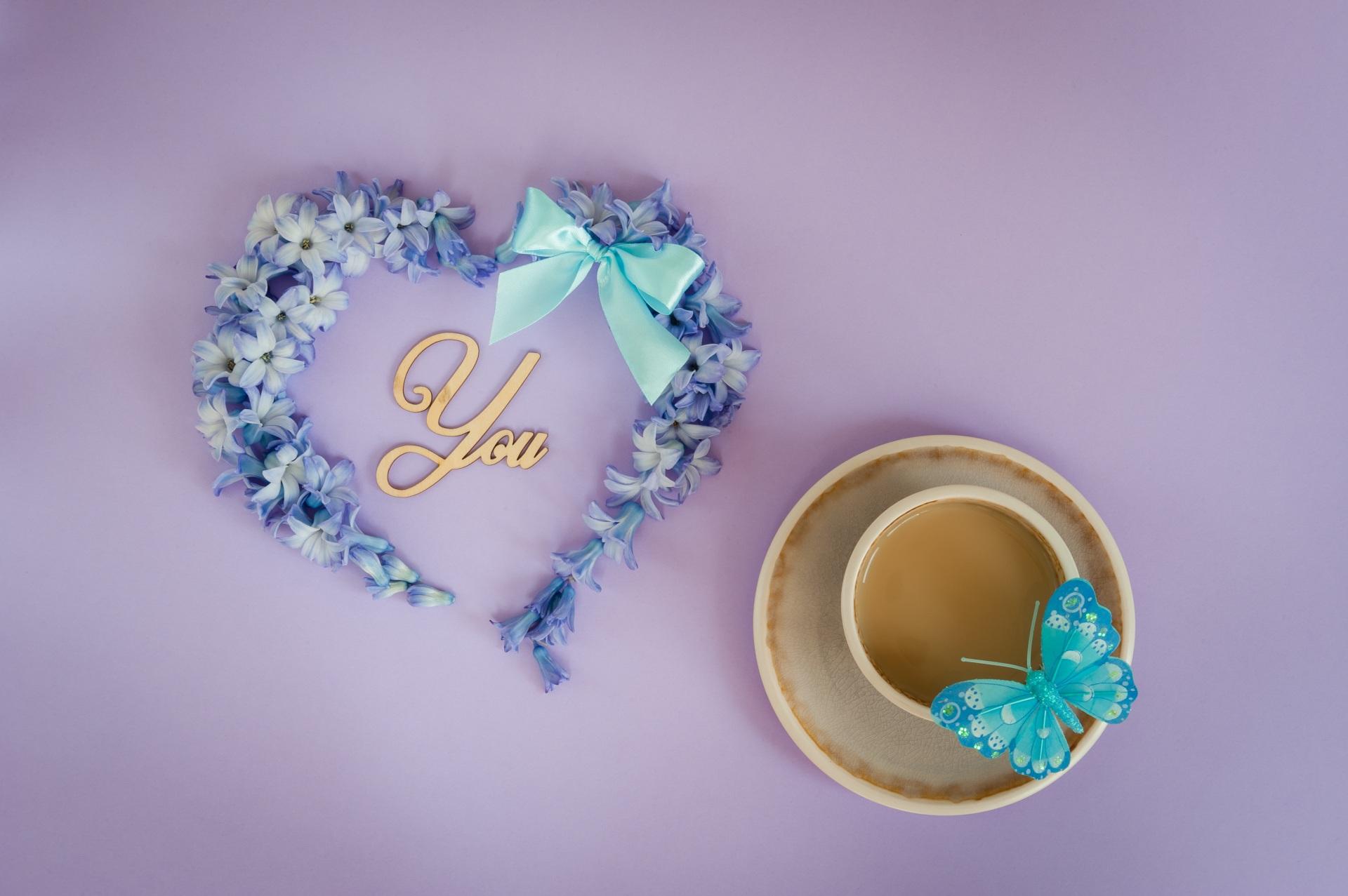 Обои для рабочего стола День святого Валентина бабочка Сердце чашке Бантик 1920x1277 День всех влюблённых Бабочки серце сердца сердечко бант Чашка бантики
