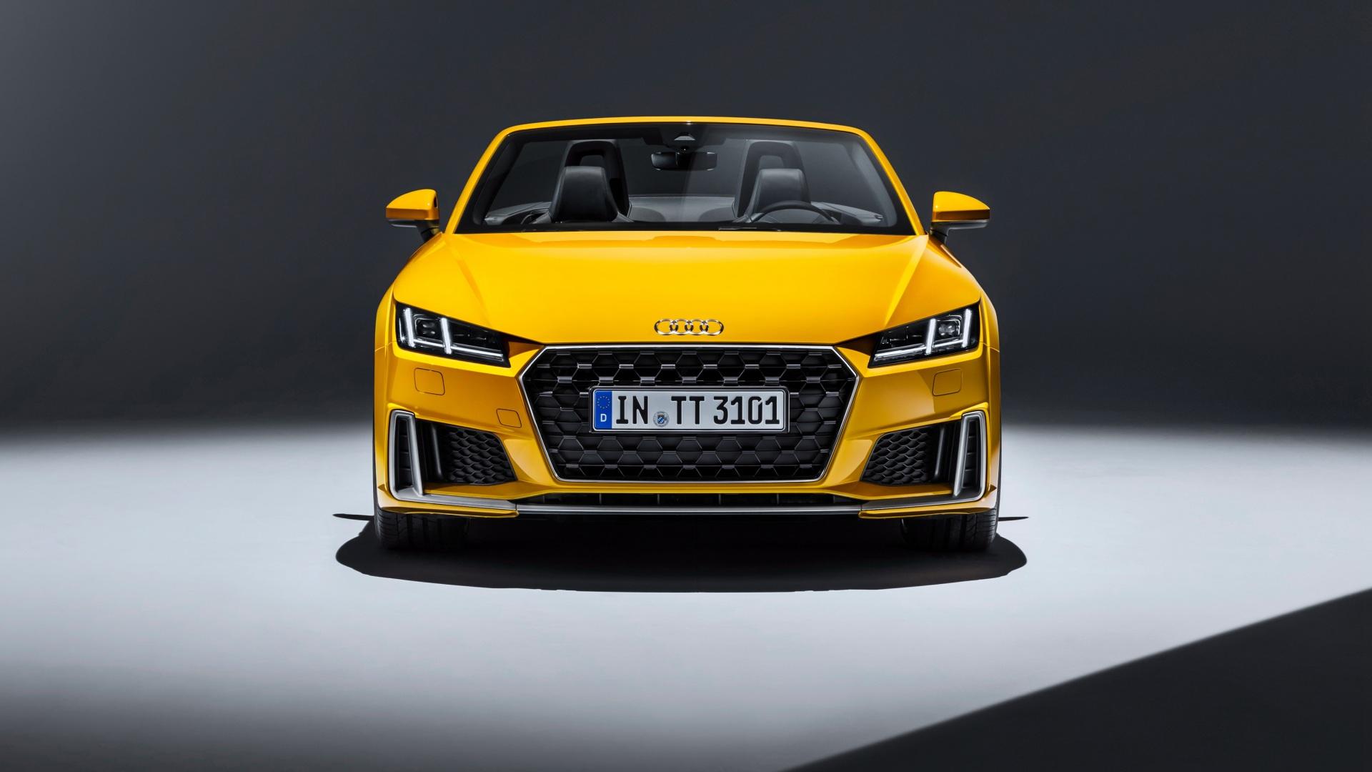 Картинка Audi 2018 TTS Родстер Желтый Спереди Автомобили 1920x1080 Ауди Авто Машины