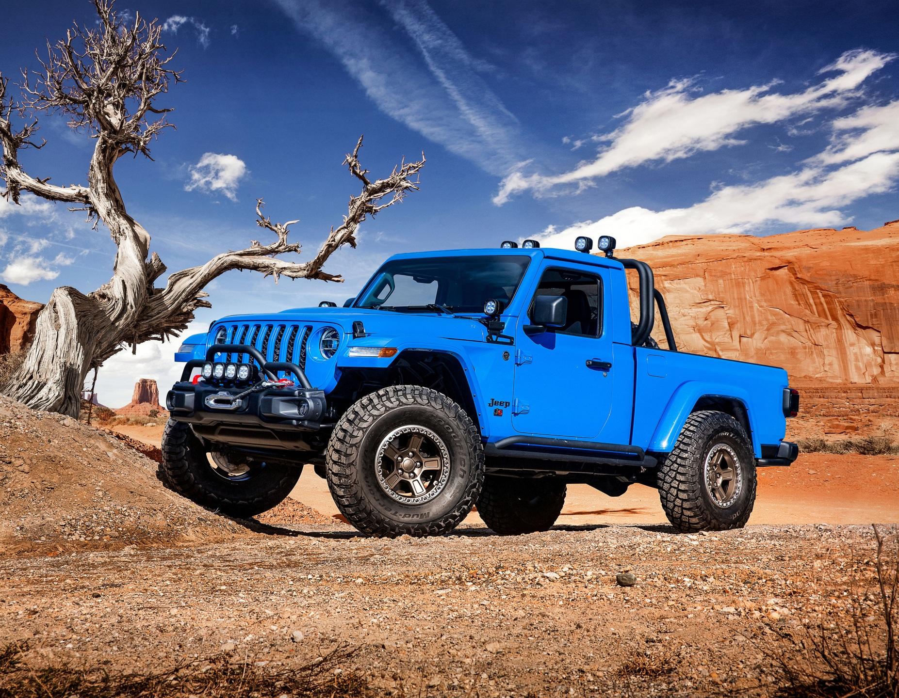 Картинки Джип 2019 J6 Пикап кузов Голубой Автомобили 1853x1440 Jeep голубых голубые голубая Авто Машины