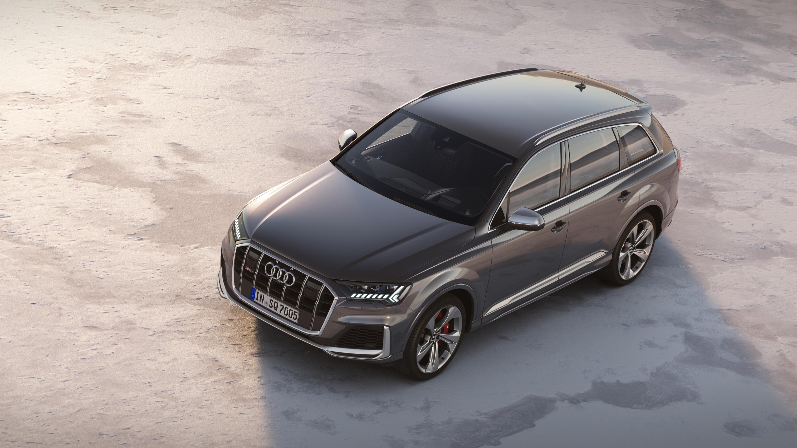 Картинка Audi 2019 SQ7 TDI Worldwide Серый авто Металлик 2560x1440 Ауди серые серая машина машины автомобиль Автомобили