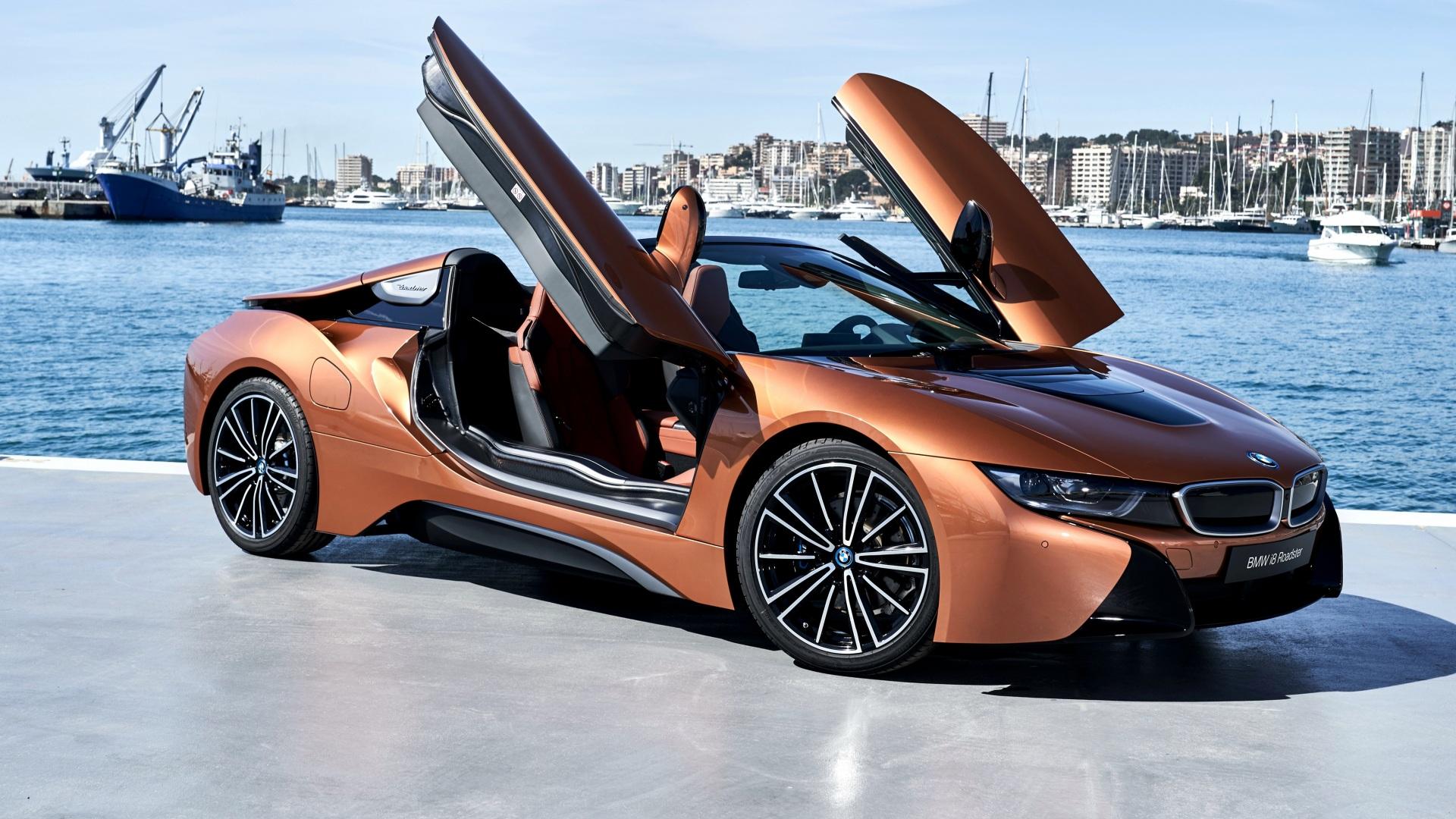 Фотография BMW 2018 i8 Родстер машина 1920x1080 БМВ авто машины автомобиль Автомобили