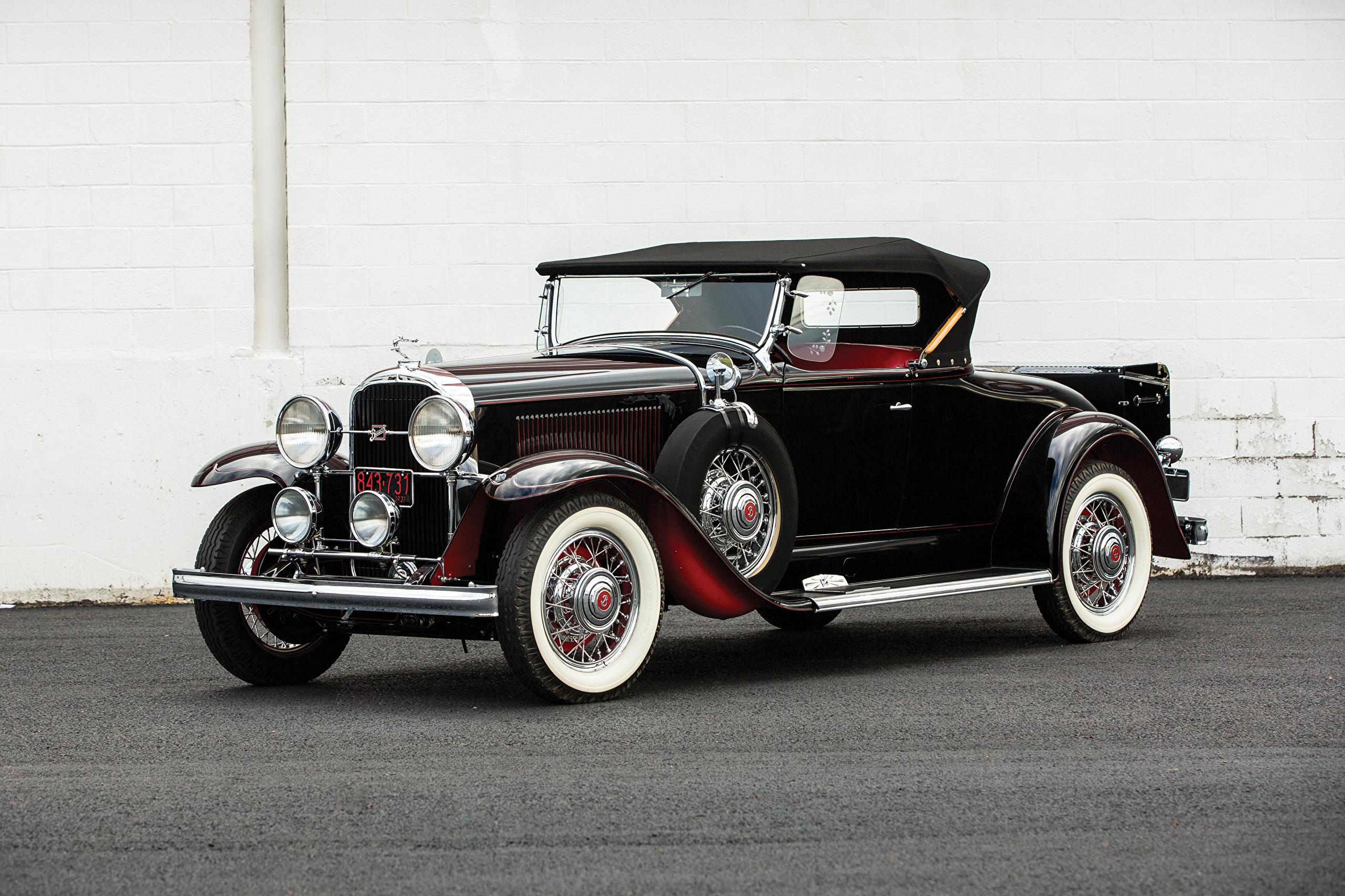 Фотография Бьюик 1931 Series 90 Roadster Родстер Ретро черных Автомобили 2560x1706 Buick Черный черные черная Винтаж старинные авто машина машины автомобиль