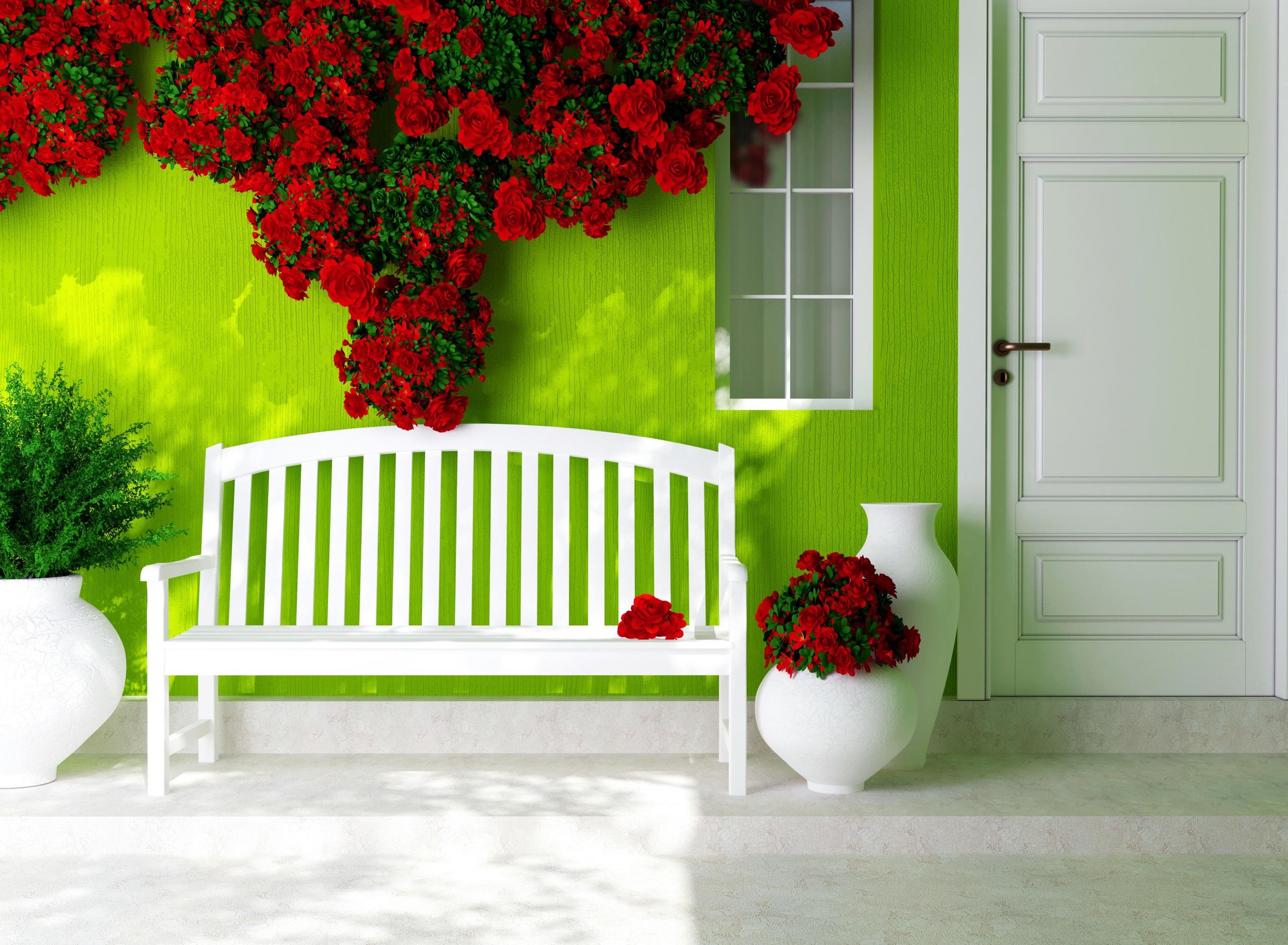 Картинки роза красные Цветы Дверь Скамья 2560x1878 Розы красных красная Красный цветок двери Скамейка