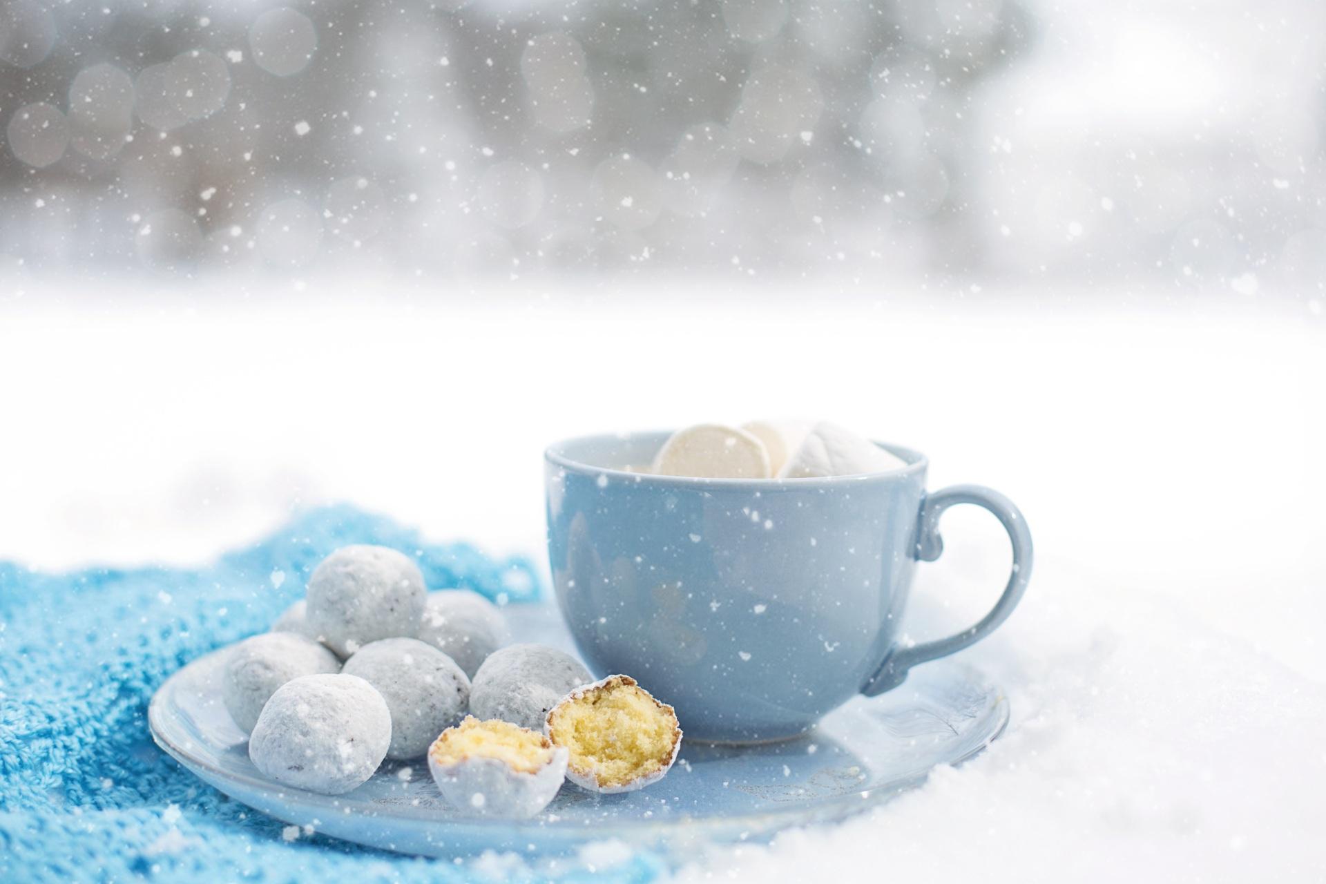 Картинка снежинка Пища Чашка Печенье 1920x1280 Снежинки Еда Продукты питания