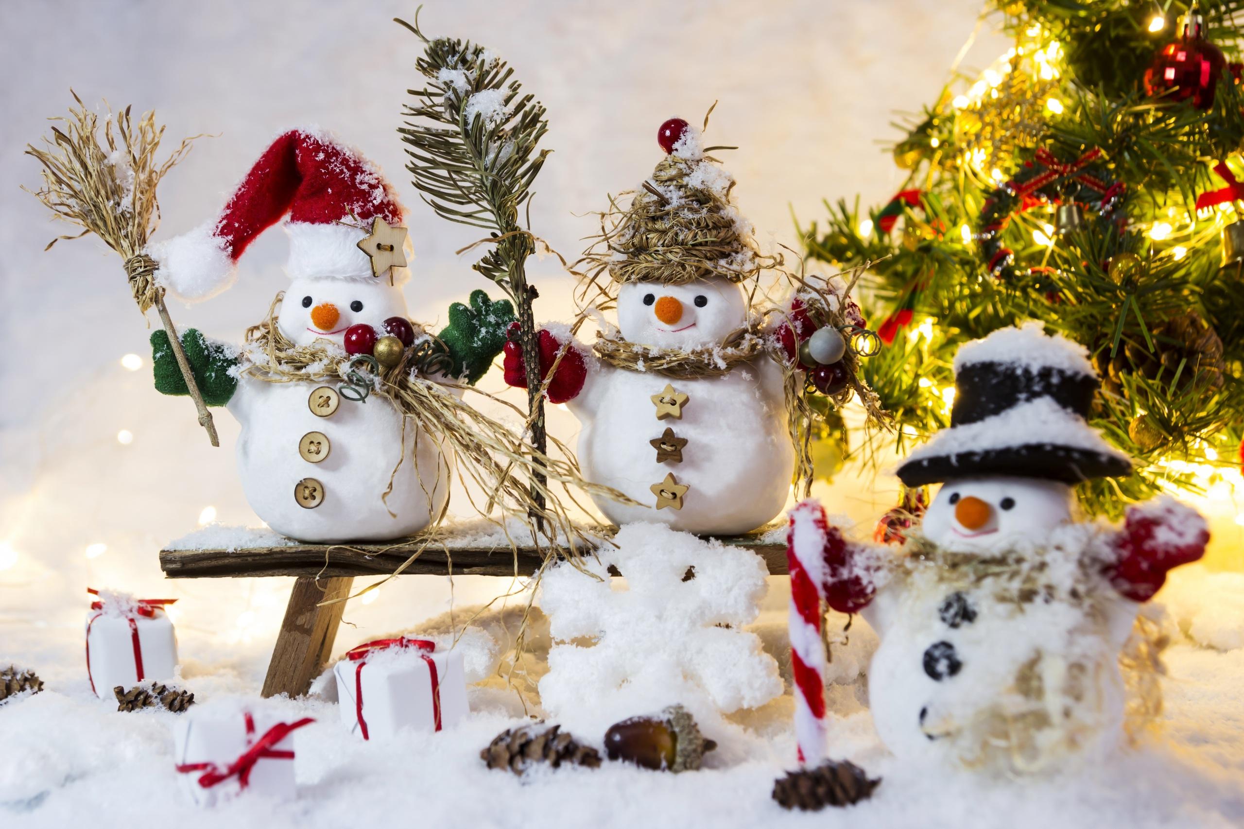 Обои для рабочего стола Шапки Снежинки снеге снеговика Трое 3 Скамейка 2560x1706 шапка в шапке снежинка Снег снегу снега снеговик Снеговики три втроем Скамья