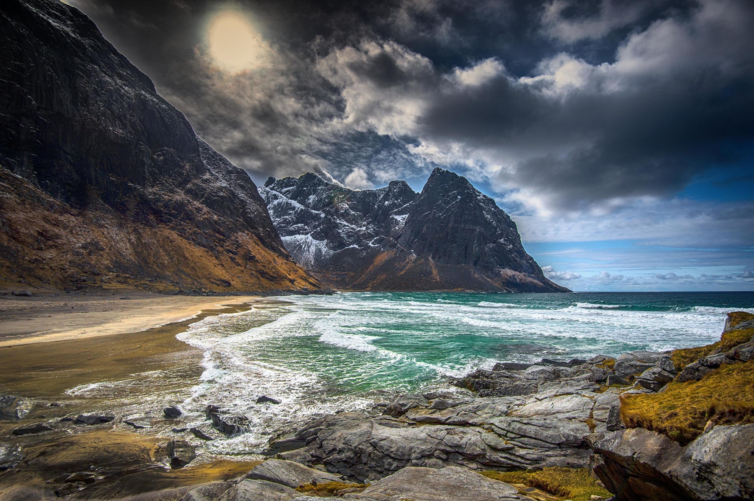 природа камни море побережье скалы зима снег бесплатно