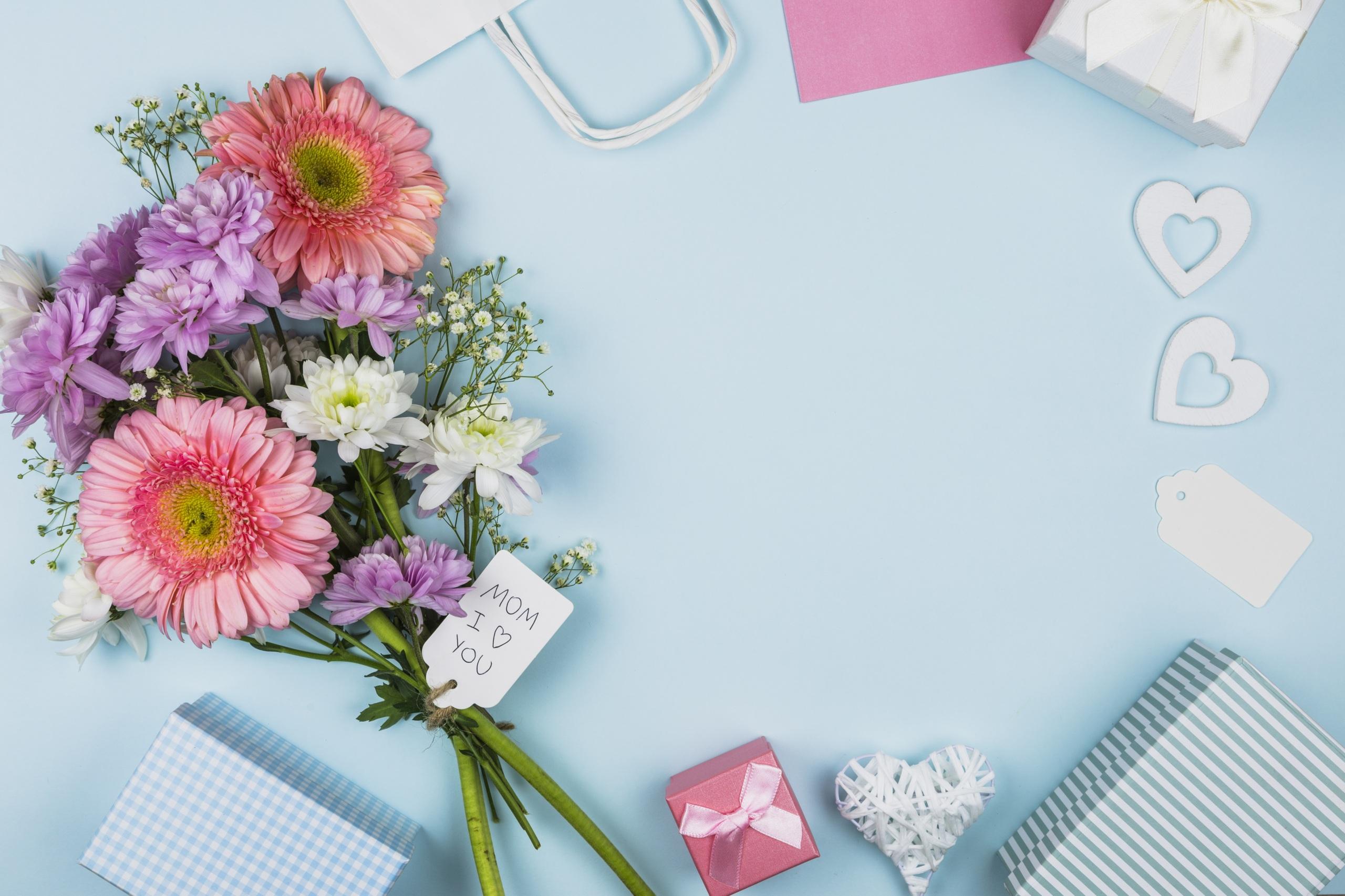 Картинки Mother's Day букет Герберы цветок Шаблон поздравительной открытки Праздники 2560x1706 Букеты гербера Цветы