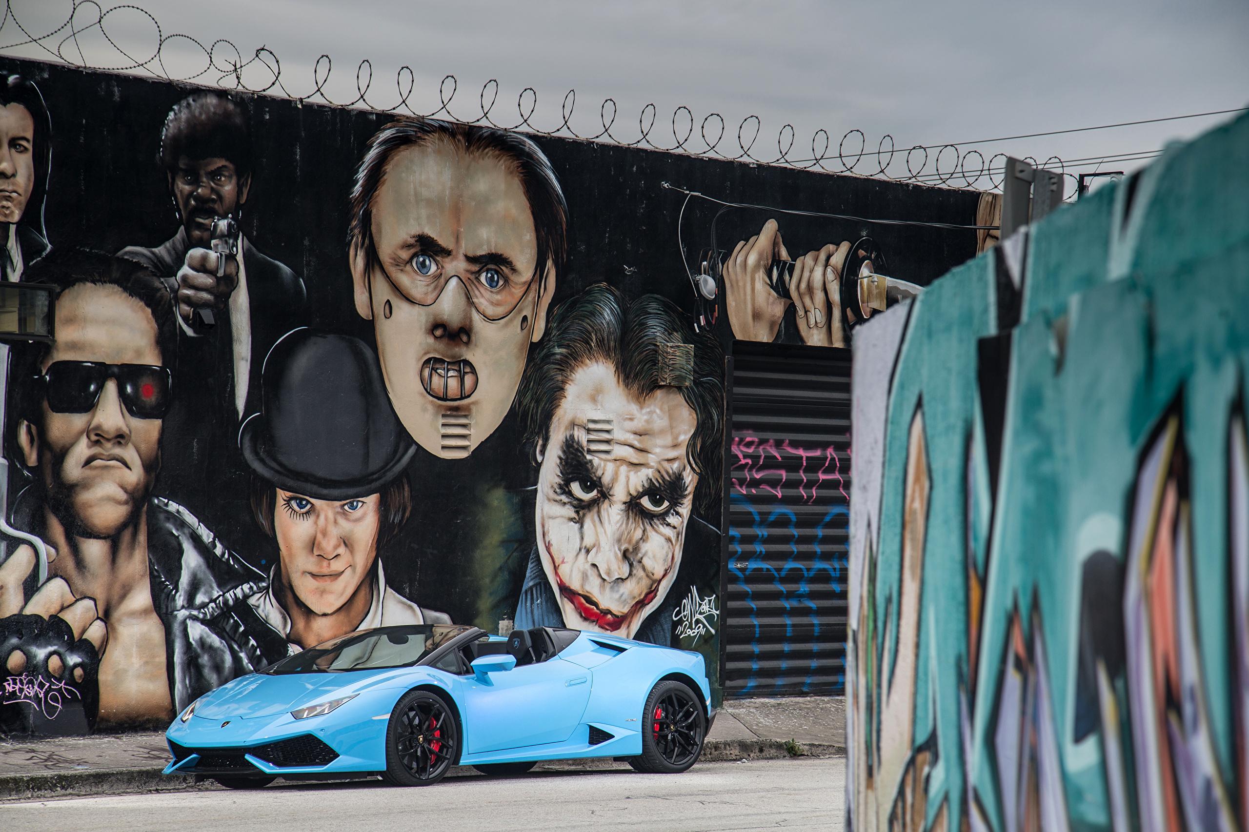 Фото Lamborghini 2015-16 Huracán LP 610-4 Spyder Кабриолет Голубой Граффити Металлик Автомобили 2560x1706 Ламборгини кабриолета голубых голубые голубая авто машина машины автомобиль