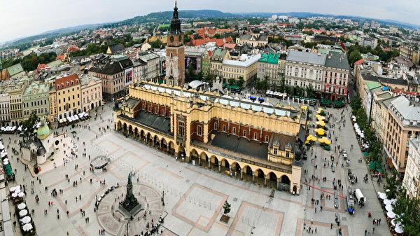 Фотографии Польша Krakov Сверху Горизонт Дома город 600x337 горизонта Здания Города