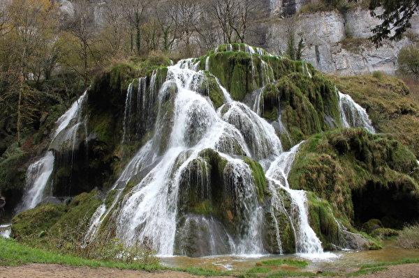 Фотография Франция Cascade des Tufs Природа Водопады Мох 600x399 мха мхом