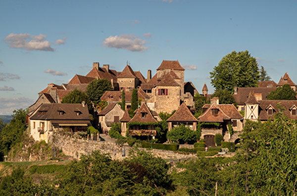 Фотографии Франция Loubressac Дома Города 600x397 город Здания