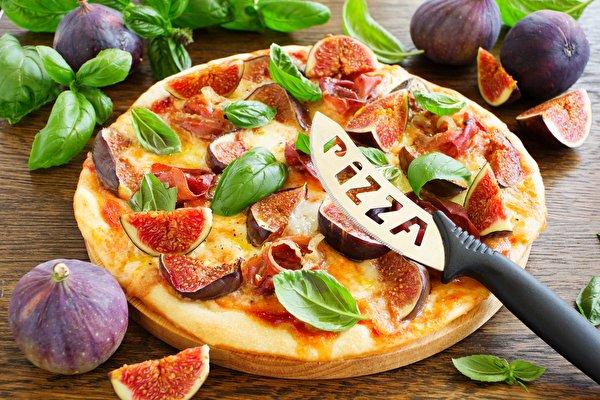 Фотография Еда Инжир Пицца Базилик душистый 600x400 Пища Продукты питания
