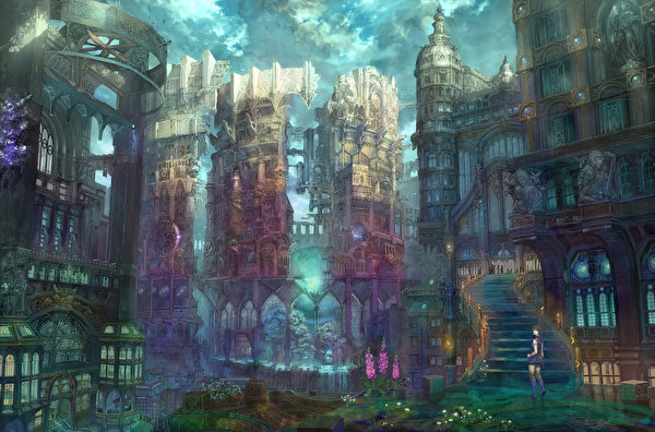Картинки Аниме Фантастика Фантастический мир Здания Города 600x396 Фэнтези Дома город