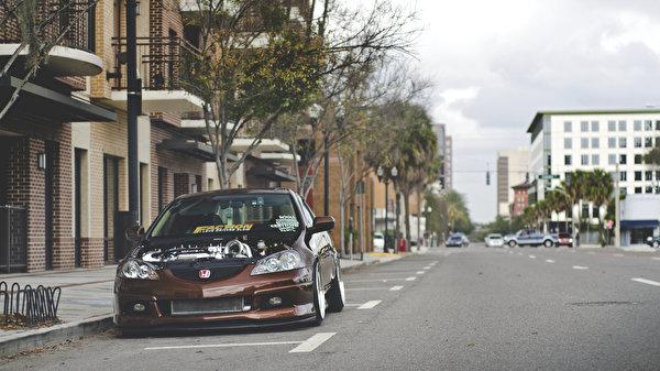 Картинка Honda rsx улиц Дороги Спереди асфальта Автомобили 600x337 Хонда улице Улица авто машины машина Асфальт автомобиль