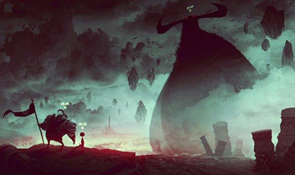 Картинка Монстры воин Фантастика Фантастический мир 600x356 монстр чудовище воины Воители Фэнтези