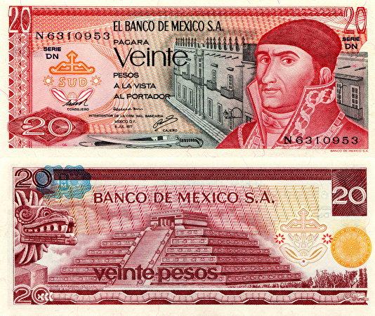 Фотография Купюры Мексика 20 pesos Деньги 534x450 Банкноты