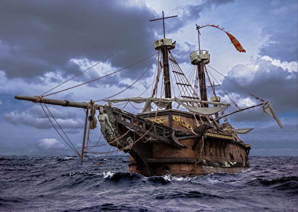 Фотографии boat sails wood Море Корабли Парусные облачно 600x426 корабль Облака облако