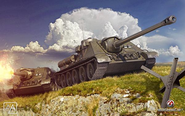 Обои для рабочего стола World of Tanks САУ USSR SU-85 3д вдвоем Игры 600x375 WOT Самоходка 2 два две Двое 3D Графика компьютерная игра