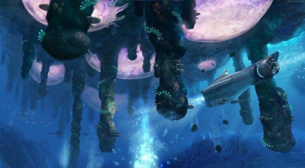 Картинки Подводный мир Подводные лодки Subnautica Фантастика Игры фантастическая техника 600x330 Фэнтези компьютерная игра Техника Фэнтези