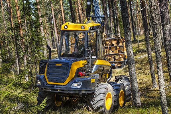 Картинка Форвардер 2014-17 Ponsse Wisent 8w Леса Деревья 600x400 лес дерево дерева деревьев