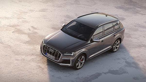 Картинка Audi 2019 SQ7 TDI Worldwide Серый авто Металлик 600x337 Ауди серые серая машина машины автомобиль Автомобили