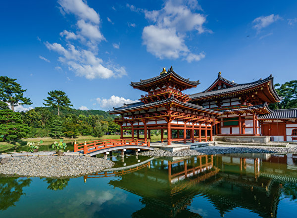 Фотография Япония Kansai, Byodo-in, Uji Природа Пруд Небо Пагоды храм 600x441 Храмы