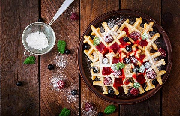 Картинки вафля Варенье Сахарная пудра Вишня Продукты питания Доски 600x387 Вафли джем Повидло Черешня Еда Пища