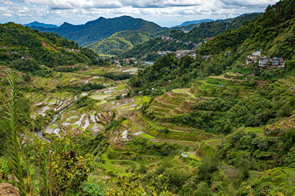 Фотография Филиппины Banaue rice terraces, Ifugao гора Природа Поля Сверху 600x399 Горы