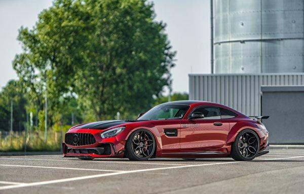 Фотографии Мерседес бенц AMG GT красных Сбоку машины Металлик 600x383 Mercedes-Benz красная красные Красный авто машина Автомобили автомобиль