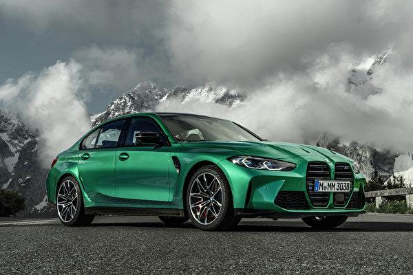 Фотографии БМВ M3 Competition, (G80), 2020 Зеленый Металлик Автомобили 600x400 BMW зеленая зеленые зеленых авто машины машина автомобиль