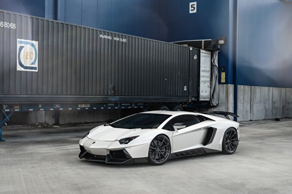 Фотография Ламборгини LP700 ANRKY AN28 белых машина 600x400 Lamborghini белая белые Белый авто машины Автомобили автомобиль