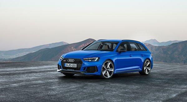 Обои для рабочего стола Ауди Универсал RS4, Avant, 2017 Синий авто Асфальт 600x329 Audi синяя синие синих машины машина асфальта Автомобили автомобиль