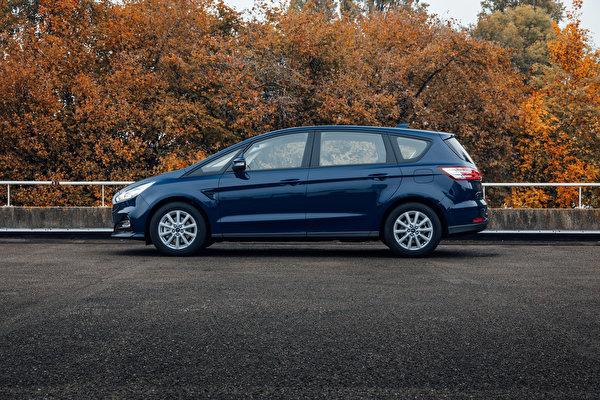 Картинки Ford Универсал S-MAX, 2019 Синий авто Сбоку Металлик 600x400 Форд синяя синие синих машина машины Автомобили автомобиль