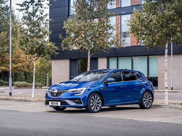 Картинка Рено Mégane R.S. Line, UK-spec, 2020 синяя авто Металлик 600x450 Renault Синий синие синих машина машины Автомобили автомобиль