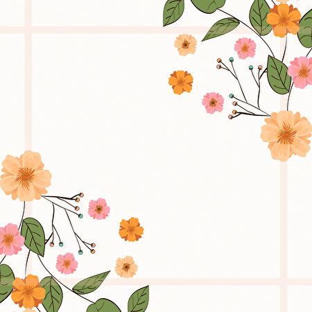 Фотографии лист цветок Шаблон поздравительной открытки Рисованные 450x450 Листва Листья Цветы