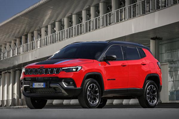 Фотографии Джип Compass Trailhawk 4xe, EU-spec, (MP), 2021 красные машина Металлик 600x400 Jeep красная Красный красных авто машины Автомобили автомобиль