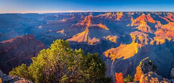 Обои для рабочего стола Гранд-Каньон парк штаты Панорама Arizona каньоны Природа Парки 600x287 США америка панорамная Каньон каньона парк